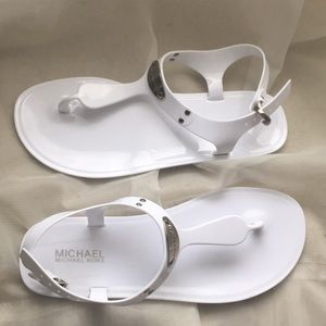 Michael Kors Plate Jelly size 8 white sandals